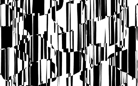 Random Chaotic Lines Abstract Geometric Pattern  Texture, Modern, Contemporary Art Illustration with Black White Striped Lines, Wavy, Curving Distortion Effect, Bending, Warped Lines