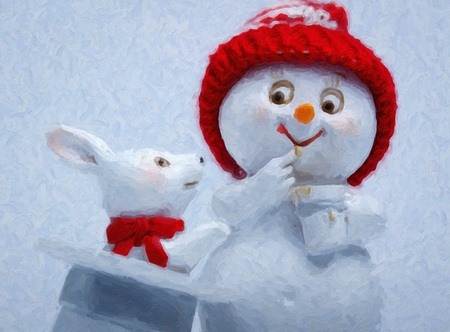 Cheerful snowman and rabbit shows hat trick. The magician conjured a rabbit out of a hat Stock Photo