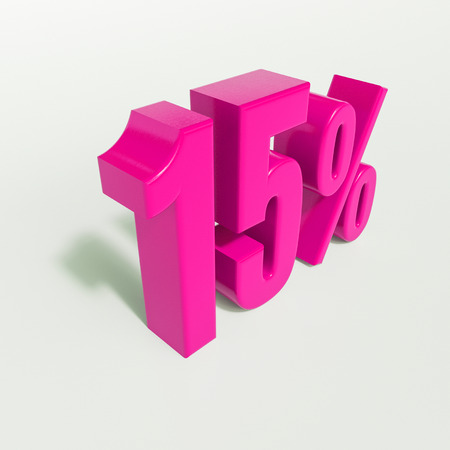 3d render: 15 percent, percentage discount sign on white, 15%