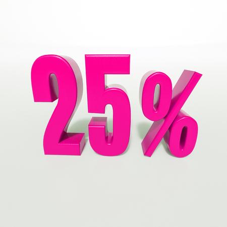 3d Illustration 25 Percent Discount Sign, Sale Up to 25, 25 Sale, Pink Percentages Special Offer, Save On 25 Icon, 25 Off Tag, 25 Percentage Sign, Percentage 3d, Black Friday  Percentage