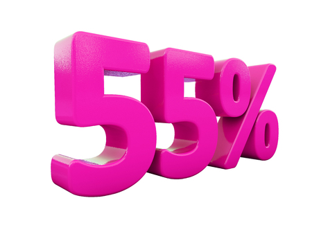 3d Illustration 55 Percent Discount Sign, Sale Up to 55, 55 Sale, Pink Percentages Special Offer, Save On 55 Icon, 55 Off Tag, 55 Percentage Sign, Percentage 3d, Black Friday  Percentage 免版税图像
