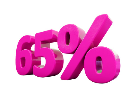 3d Illustration 65 Percent Discount Sign, Sale Up to 65, 65 Sale, Pink Percentages Special Offer, Save On 65 Icon, 65 Off Tag, 65 Percentage Sign, Percentage 3d, Black Friday  Percentage