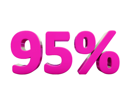 3d Illustration 95 Percent Discount Sign, Sale Up to 95, 95 Sale, Pink Percentages Special Offer, Save On 95 Icon, 95 Off Tag, 95 Percentage Sign, Percentage 3d, Black Friday  Percentage