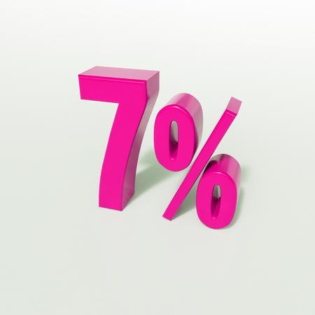 3d Illustration 7 Percent Discount Sign, Sale Up to 7, 7 Sale, Pink Percentages Special Offer, Save On 7 Icon, 7 Off Tag, 7 Percentage Sign, Percentage 3d, Black Friday  Percentage