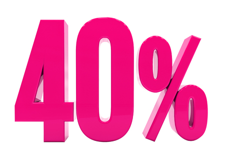 3d Illustration Pink 40 Percent Discount Sign, Sale Up to 40, 40 Sale, Pink Percentages Special Offer, Save On 40 Icon, 40 Off Tag, Pink 40 Percentage Sign, Percentage 3d, Black Friday  Percentage