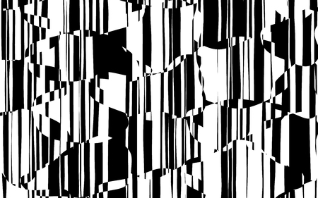 Random Chaotic Lines Abstract Geometric Pattern  Texture, Modern, Contemporary Art Illustration with Black White Striped Lines, Wavy, Curving Distortion Effect, Bending, Warped Lines Banque d'images - 103427542