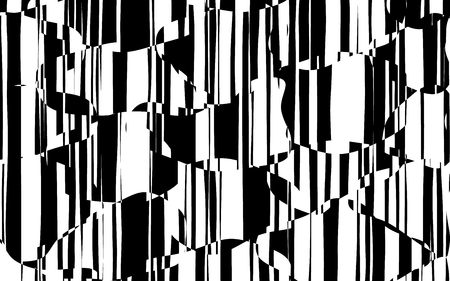 Random Chaotic Lines Abstract Geometric Pattern  Texture, Modern, Contemporary Art Illustration with Black White Striped Lines, Wavy, Curving Distortion Effect, Bending, Warped Lines Banque d'images - 103427554