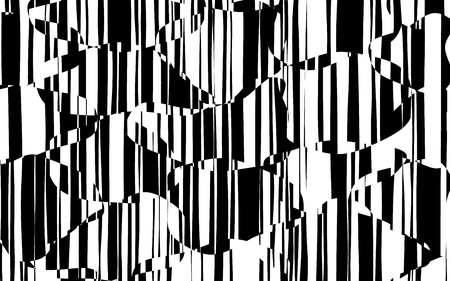Random Chaotic Lines Abstract Geometric Pattern  Texture, Modern, Contemporary Art Illustration with Black White Striped Lines, Wavy, Curving Distortion Effect, Bending, Warped Lines Banque d'images - 103427492
