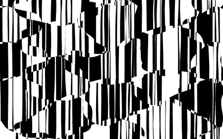 Random Chaotic Lines Abstract Geometric Pattern  Texture, Modern, Contemporary Art Illustration with Black White Striped Lines, Wavy, Curving Distortion Effect, Bending, Warped Lines Banque d'images - 103427493