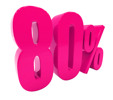 3d Illustration Pink 80 Percent Discount Sign, Sale Up to 80, 80 Sale, Pink Percentages Special Offer, Save On 80 Icon, 80 Off Tag, Pink 80 Percentage Sign, Percentage 3d, Black Friday  Percentage Stock Photo