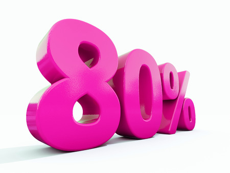 3d Illustration Pink 80 Percent Discount Sign, Sale Up to 80, 80 Sale, Pink Percentages Special Offer, Save On 80 Icon, 80 Off Tag, Pink 80 Percentage Sign, Percentage 3d, Black Friday  Percentage Фото со стока