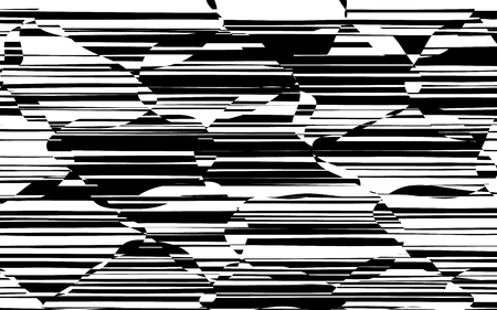Random Chaotic Lines Abstract Geometric Pattern  Texture, Modern, Contemporary Art Illustration with Black White Striped Lines, Wavy, Curving Distortion Effect, Bending, Warped Lines Banque d'images - 103921945