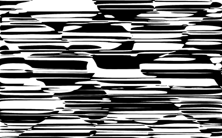 Random Chaotic Lines Abstract Geometric Pattern  Texture, Modern, Contemporary Art Illustration with Black White Striped Lines, Wavy, Curving Distortion Effect, Bending, Warped Lines Banque d'images - 103921727