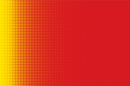 Halftone Circle Background, Abstract Dotted Background, Dots on Red Background, Halftone Effect, Comic Book Retro Print, Pop Art Style, Red and Yellow, Pattern with Circles, Dots, Vector illustration