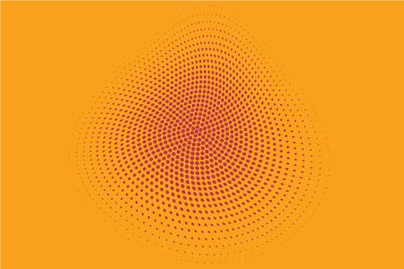 Fondo de círculo de semitono, Fondo punteado abstracto, Puntos sobre fondo rojo, Efecto de semitono, Impresión retro de cómic, Estilo Pop Art, Rojo y amarillo, Patrón con círculos, Puntos, Ilustración vectorial