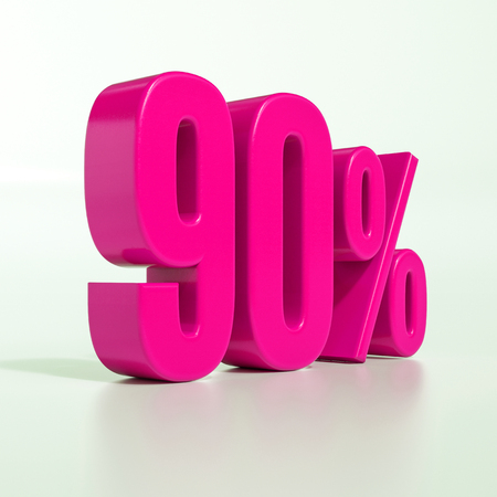 3d Illustration Pink 90 Percent Discount Sign, Sale Up to 90 版權商用圖片