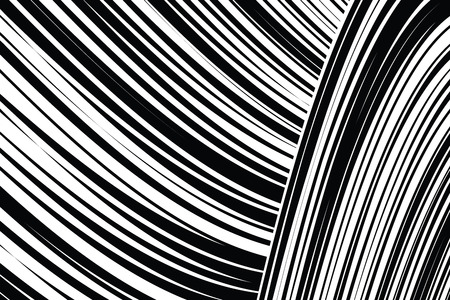 Curve Random Chaotic Lines Abstract Geometric Pattern Texture, Modern, Contemporary Art Illustration with Black White Striped Lines, Wavy, Curving Distortion Effect, Bending, Warped Lines Banque d'images - 107129592