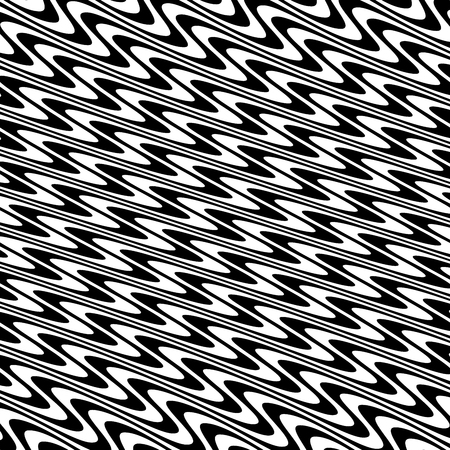 Curve Random Chaotic Lines Abstract Geometric Pattern Texture, Modern, Contemporary Art Illustration with Black White Striped Lines, Wavy, Curving Distortion Effect, Bending, Warped Lines Banque d'images - 107190197