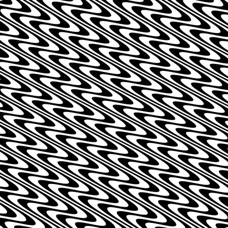 曲線ランダムカオスライン 抽象的な幾何学模様のテクスチャ、現代美術イラスト、黒白の縞模様の線、波状、曲がり歪み効果、曲げ、歪んだ線
