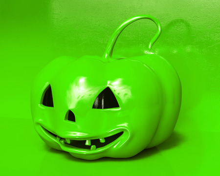 Whole Fresh Halloween Orange Pumpkin On White Background, Design Element For Poster And Backgrounds. Stock Photo