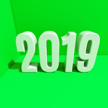 Red 2019 on White Background, New Year 2019, 3D Illustration, Happy New Year 2019, Red 3D Numbers Stock Photo