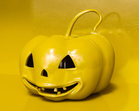 Whole Fresh Halloween Color Pumpkin Close up, Design Element For Poster And Backgrounds.