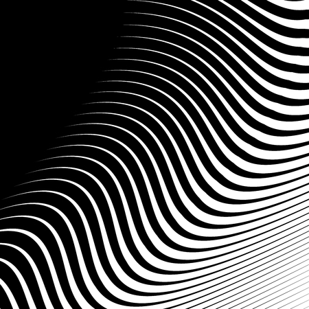 Fondo de vector abstracto de ondas, rayas de línea Fondo de onda irregular, diseño minimalista abstracto, ilusión 3d de agua que fluye estilizada, arte de línea gráfica