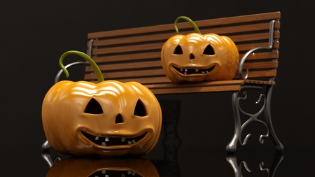 Two Laughing Halloween Orange Pumpkins On Black Background, Design Element For Poster And Backgrounds, Happy Halloween Decorative Pumpkin Detail Up Close For Halloween, Happy Halloween