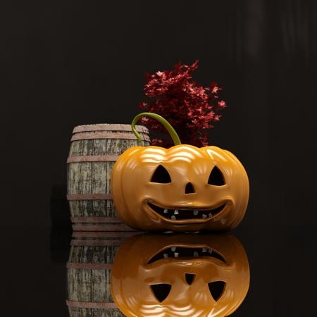Laughing Halloween Orange Pumpkin On Black Background, Design Element For Poster And Backgrounds, Happy Halloween Decorative Pumpkin Detail Up Close For Halloween, Happy Halloween Stock Photo
