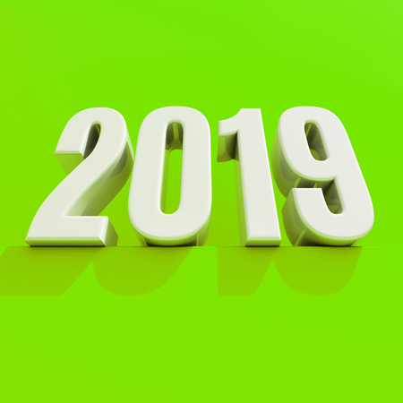 Red 2019 on White Background, New Year 2019, 3D Illustration, Happy New Year 2019, Red 3D Numbers, New Year 2019 3D Rendering, Numeral 2019, New Year 2019 Creative Design Concept 3D Rendered Image Stock Photo
