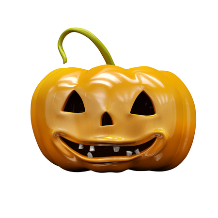 Laughing Halloween Orange Pumpkin On White Background, Design Element For Poster And Backgrounds, Happy Halloween Decorative Pumpkin Detail Up Close For Halloween, Happy Halloween