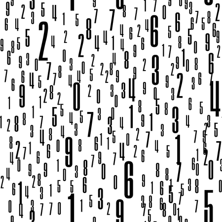 Numbers Shapes Seamless Pattern in Vector
