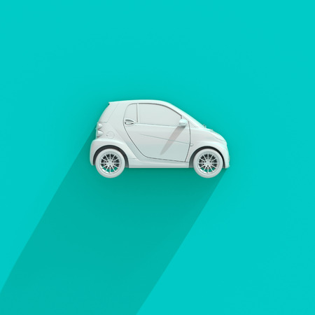 3d Small Modern Compact Car with Glossy Paint, Hi-Detailed Micro Car Template Mockup, Urban Electric Mini Car for Branding Corporate Identity Logo Design, Eco-Friendly Hi-Tech Vehicle, Small Vehicle Stock Photo