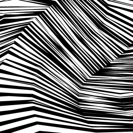 Curve Random Chaotic Lines Abstract Geometric Pattern Texture, Modern, Contemporary Art Illustration with Black White Striped Lines, Wavy, Curving Distortion Effect, Bending, Warped Lines