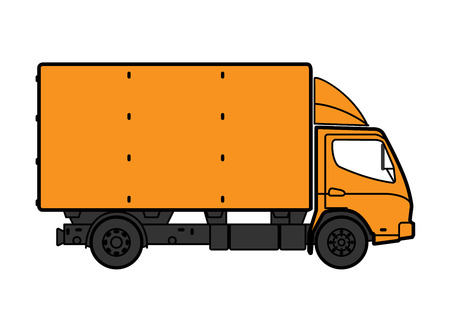 Postal Van Illustrates the Express Home Delivery of Cargo, Home Delivery Icon, Delivery Box Truck Icon, Transporting Service, Freight Transportation, Packages Shipment, International Logistics