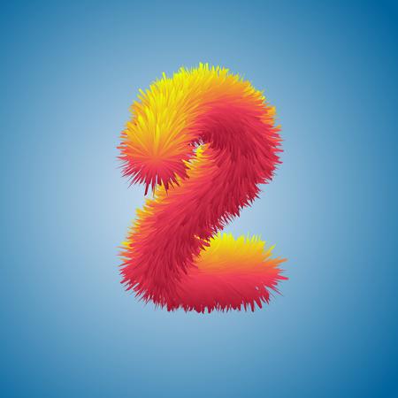 Numéro 2 deux illustration festive sur fond bleu, numéro 2 de l'alphabet de fourrure, lettre shaggy de haute qualité 2, modèle d'affiche ou de brochure, illustration vectorielle