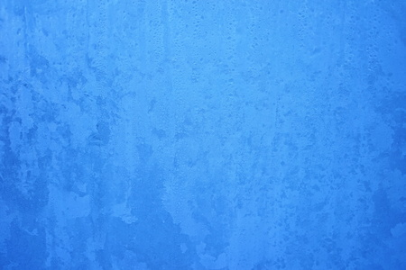 Blue Frost Background, Closeup Frozen Winter Window Pane Coated Shiny Icy Frost Patterns, Extreme North Low Temperature, Natural Ice Pattern on a Frosty Glass, Turquoise Cool Winter Abstract Ice Glass Stock Photo