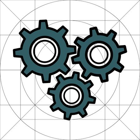 Gear Simple Vector Icon, Cog Wheel Pictogram, Settings Symbol, Engine Gear Wheels