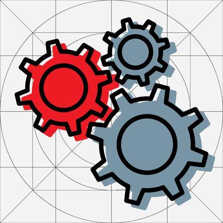 Gear Simple Vector Icon, Cog Wheel Pictogram, Settings Symbol, Engine Gear Wheels