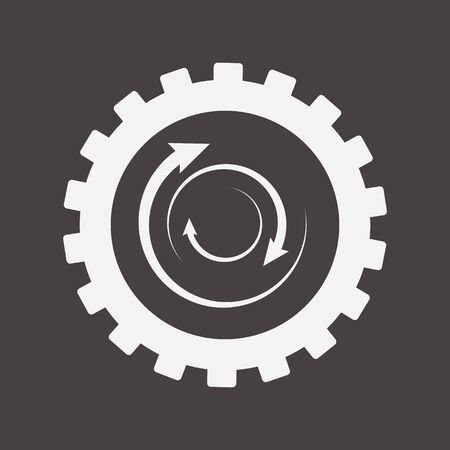 Gear Crowns with Rounded Arrows, Illustration of the Business Cooperation Gear, Mechanism Sign, Rotation Symbol, Productivity Blank Template, Rotation Icon