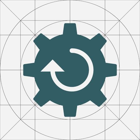 Single Gear Simple Vector Icon, Cog Wheel Pictogram, Settings Symbol, Engine Gear Wheels, Production or Efficiency Sign, Cogwheel Ggear Mechanism 일러스트
