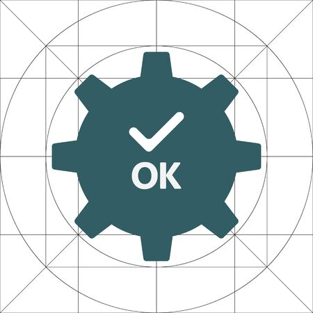 OK and Single Gear Simple Vector Icon, Cog Wheel Pictogram, Settings Symbol, Engine Gear Wheels, Production or Efficiency Sign, Cogwheel Ggear Mechanism