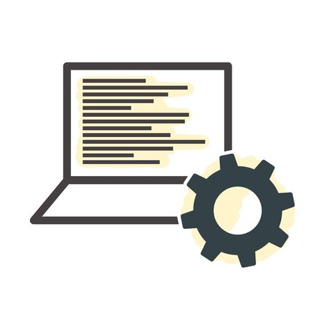 laptop and Gear Icon, Service Notebook, Computer Repair Logo Template, Data Processing, Software Symbol, Engineering, IT Automation, SEO and Data Management Concept Vector Symbol