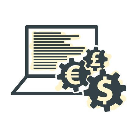 laptop and Money Gear Icon, Make Money on the Internet, E-Business Financial Currency Operations Illustration, Digital Crypto Mining with Blockchain Technology Vector Sigh 向量圖像