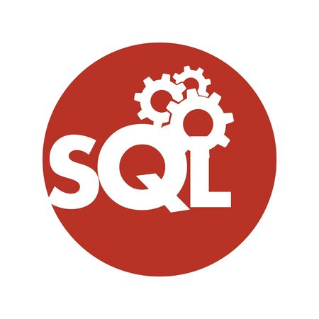 Text SQL Structured Query Language on Laptop, Database Search Data Code, Internet Security and Networking Concept, Sql Sigh Stroke Symbol Design  イラスト・ベクター素材