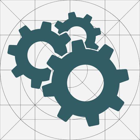 Mechanical Gears Cogwheels Icon, Settings Symbol, Development, Engineering ,Clockwork Concept, Gears in Engagement, Industry, Efficiency, Production Sign, Sketch Cogwheel Gear Mechanism, Working Together, Teamwork