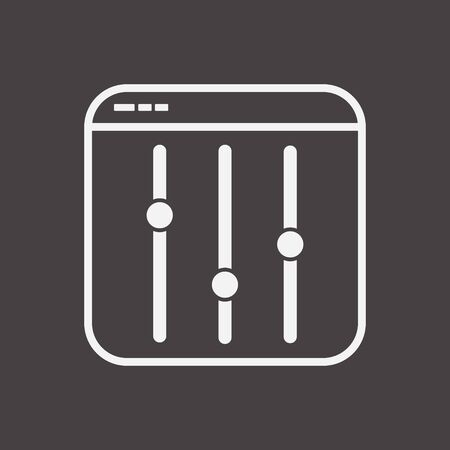 Outline Settings Equalizer Icon in File Frame, Frequency Slider Silhouette Symbol, Preferences Switcher, Music Studio Mixer Console, Sound Level Control, Vector Isolated Illustration Vector Illustration
