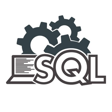 Text SQL Structured Query Language on Laptop, Database Search Data Code, Internet Security and Networking Concept, Sql Sigh Stroke Symbol Design Vectores