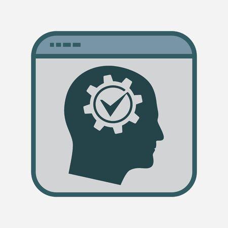 Cogwheel Gear Symbol, Productivity Icon in File Frame, Project Management, Productivity Sign, Business Optimization Vector Illustration for Infographic, Website or App Ilustração Vetorial
