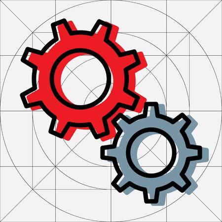 Mechanical Gears Cogwheels Icon, Settings Symbol, Development, Engineering ,Clockwork Concept, Gears in Engagement, Industry, Efficiency, Production Sign, Sketch Cogwheel Gear Mechanism, Working Together, Teamwork Vector Illustration